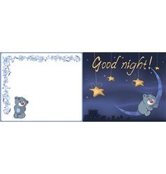Bear cub and the moon postcard vector