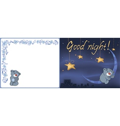 Bear cub and the moon postcard vector image vector image