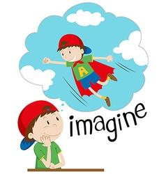 Boy imagining being superhero vector
