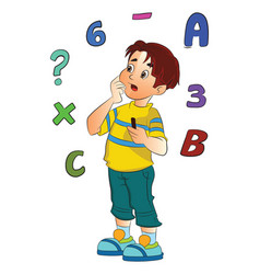 boy solving a math problem vector image vector image