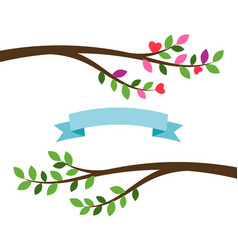 Cartoon tree branches and blue ribbon vector