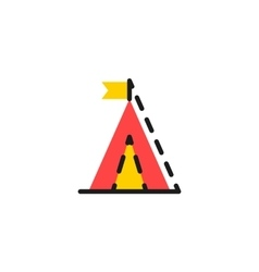 Color line icon for flat design Camping vector image vector image