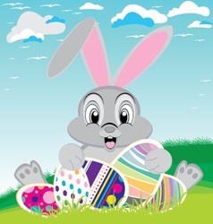 Easter day with colorful egg Bunny for Easter vector image