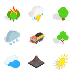 Gas environment icons set isometric style vector