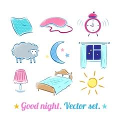 Good night set vector
