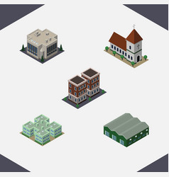 Isometric building set of warehouse house clinic vector