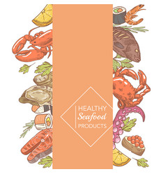 Menu design restaurant hand drawn seafood vector