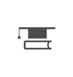 mortaboark with book icon on white background vector image vector image