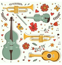 Musical instruments colorful collection with vector image vector image