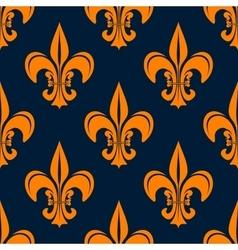 Orange vintage fleur-de-lis seamless pattern vector