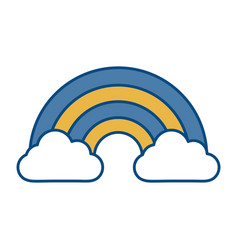 Rainbow and clouds icon vector