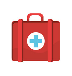 red first aid kit medications tools vector image vector image