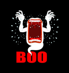 Scary ghost shouts boo horrible wraith vector