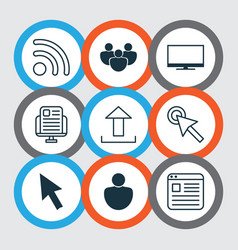 Set of 9 internet icons includes human wifi vector