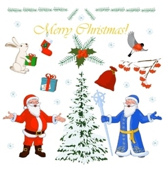 Set of Christmas characters Santa Claus and his vector image vector image