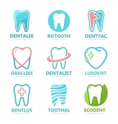 Set of tooth logo design template Dental logo vector image vector image