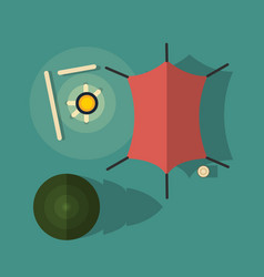 top view camping with a tent and campfire vector image