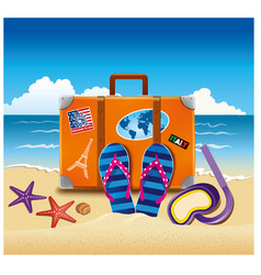 Tourist suitcase with stickers on beach vector