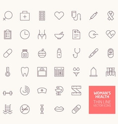 Womans Health Outline Icons for web and mobile app vector image