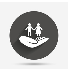 Couple insurance sign hand holds human group vector