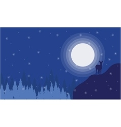 Silhouette of deer at night christmas landscape vector