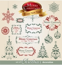 Collection of ornamental christmas decorations vector