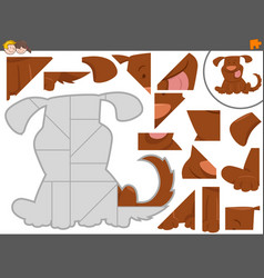 jigsaw puzzle game with cute dog vector image