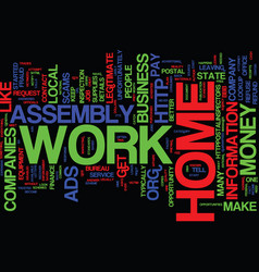 Assembly work at home scams text background word vector