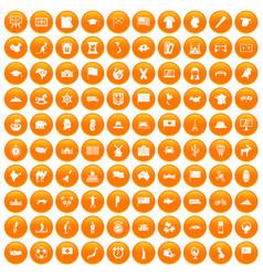 100 geography icons set orange vector