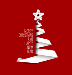 simple card with christmas tree made from paper vector image