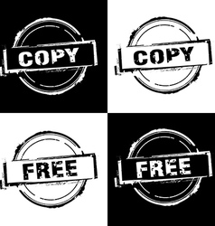 Copy free rubber stamp on black and white vector