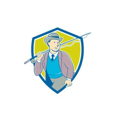 Vintage fly fisherman bowler hat shield cartoon vector