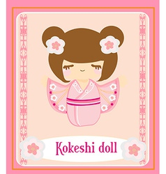 Kokeshi doll on the pink background with floral vector