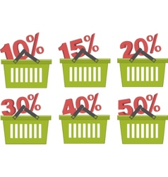 Percent discount in shopping basket vector