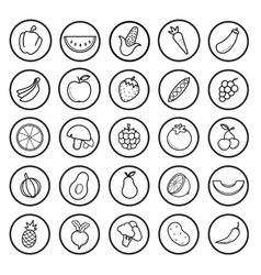 Fruit and vegetables linear icons set vector