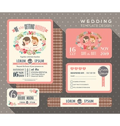 Groom and bride cartoon retro wedding invitation vector