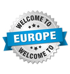 Europe 3d silver badge with blue ribbon vector
