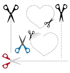 Scissors cut out the shape The dotted line vector image