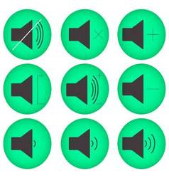 Sound controls button set flat round vector