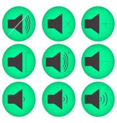 Sound controls button set flat round vector