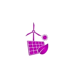Solar panel icon and wind turbine icon vector