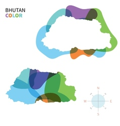 Abstract color map of Bhutan vector image vector image