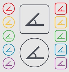 Angle 45 degrees icon sign symbols on the round vector