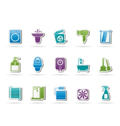 bathroom and toilet objects and icons vector image vector image