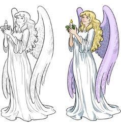 Beautiful Caucasian female angel with candle vector image
