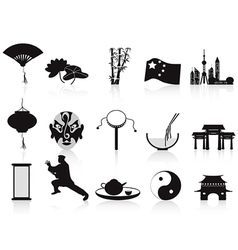 Black chinese icons set vector