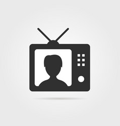 Black tv with shadow and anchorwoman icon vector