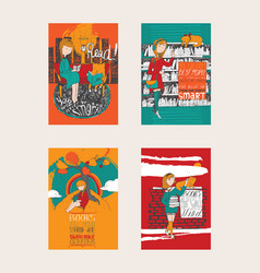Bright colorful hand drawn posters dedicated to vector