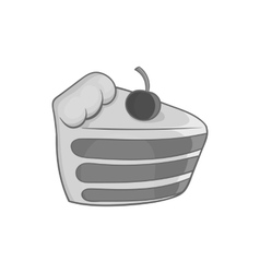 Cake with cherries icon black monochrome style vector image vector image