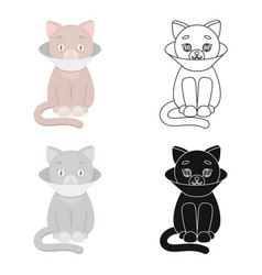 Cat sick icon in cartoon style isolated on white vector